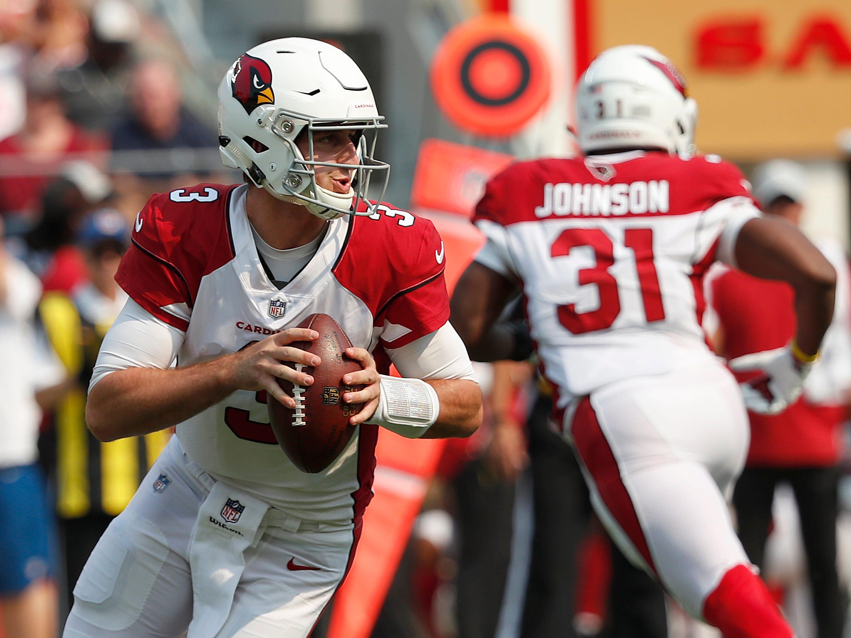 Arizona Cardinals quarterback Josh Rosen (3) passes against the San Francisco 49ers during the first half of an NFL football game in Santa Clara, Calif., Sunday, Oct. 7, 2018.