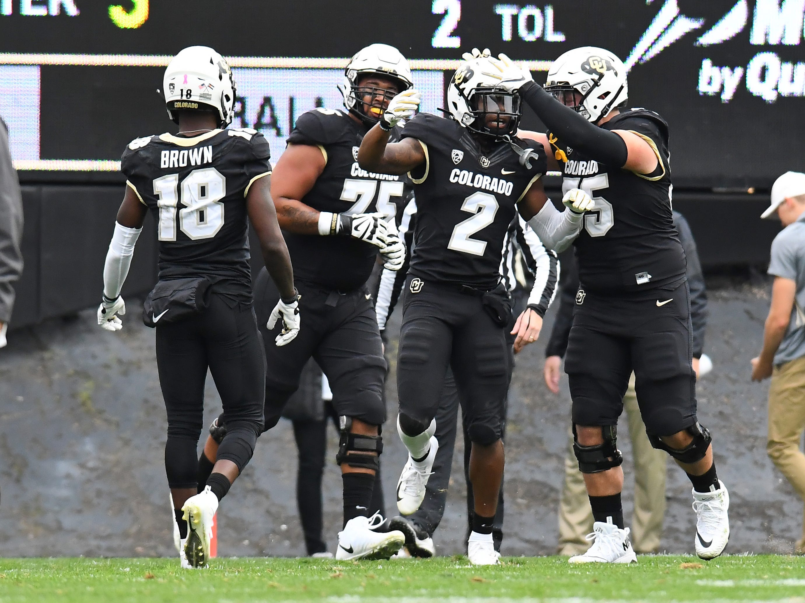 Oct 6, 2018; Boulder, CO, USA; Colorado Buffaloes wide receiver Laviska Shenault Jr. (2) celebrates his third touchdown of the game against the Arizona State Sun Devils during the fourth quarter at Folsom Field. Mandatory Credit: Ron Chenoy-USA TODAY Sports