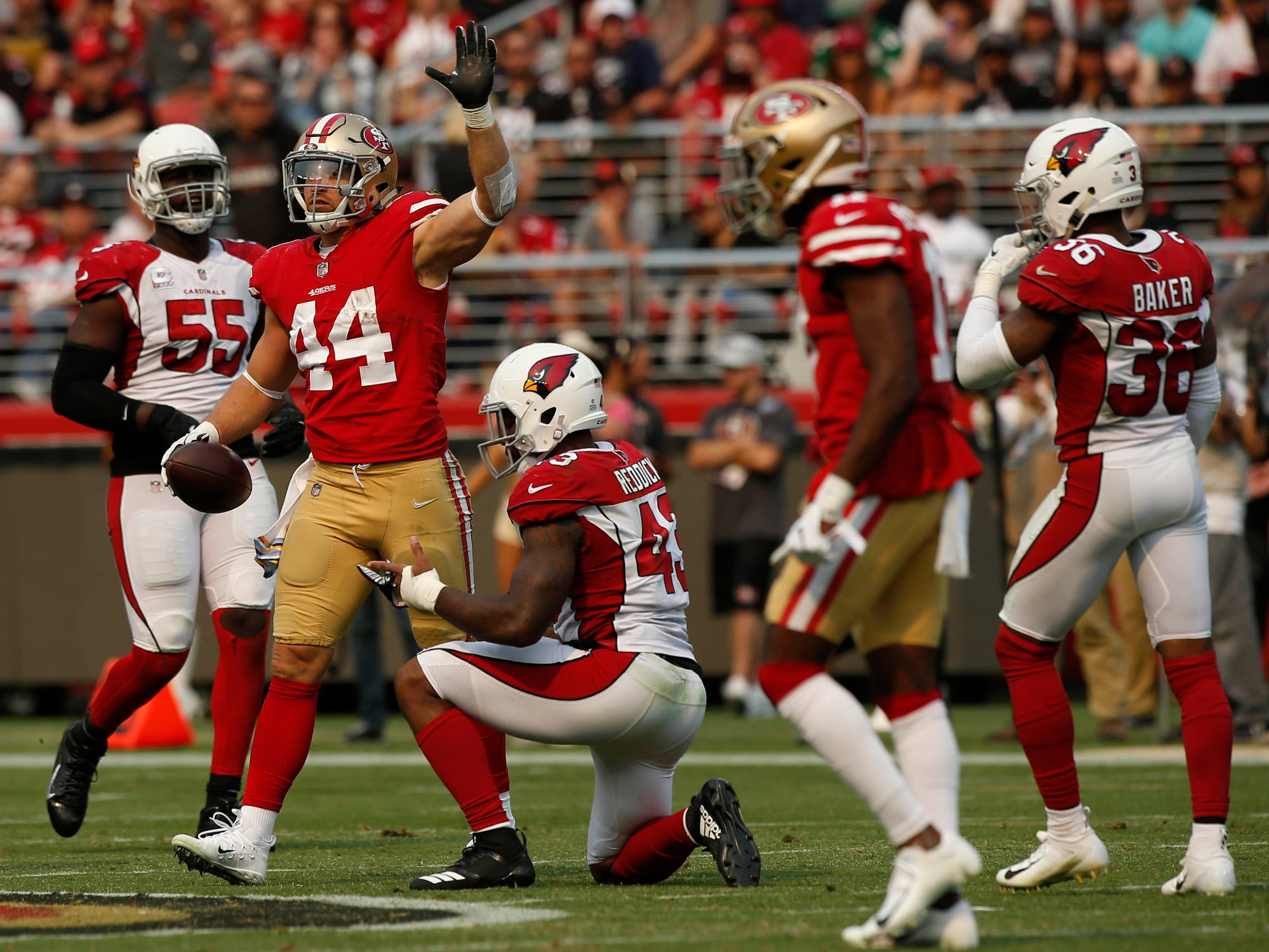 Oct 7, 2018; Santa Clara, CA, USA; San Francisco 49ers running back Kyle Juszczyk (44) reacts after picking up a first down against the Arizona Cardinals in the second quarter at Levi's Stadium.