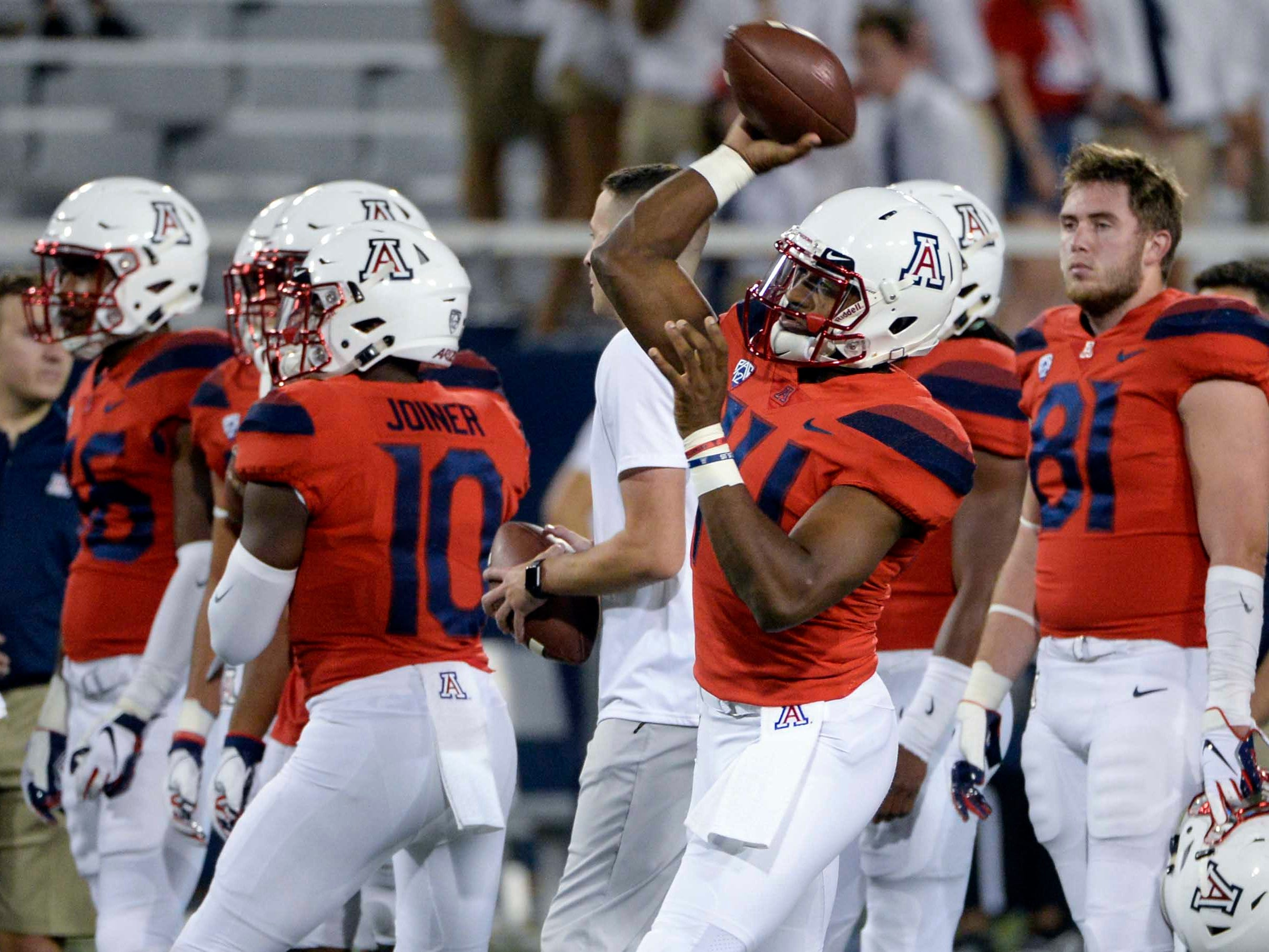 Oct 6, 2018; Tucson, AZ, USA; Arizona Wildcats quarterback Khalil Tate (14) warms up before playing the California Golden Bears at Arizona Stadium. Mandatory Credit: Casey Sapio-USA TODAY Sports