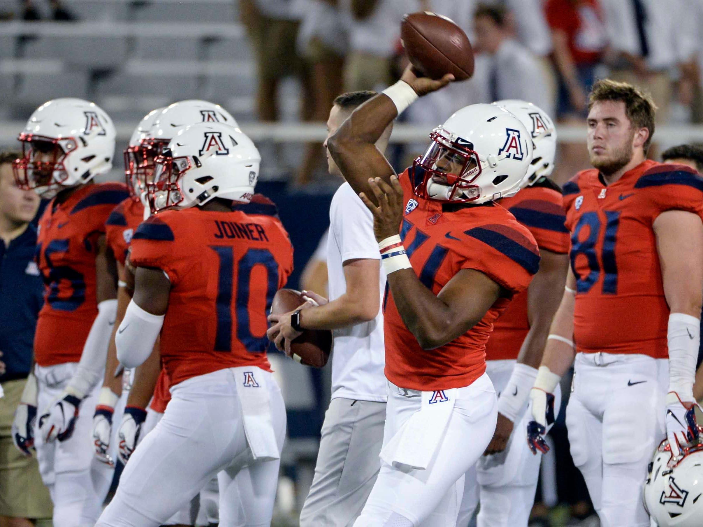 Oct 6, 2018; Tucson, AZ, USA; Arizona Wildcats quarterback Khalil Tate (14) warms up before playing the California Golden Bears at Arizona Stadium. Mandatory Credit: Casey Sapio-USA TODAY Sports