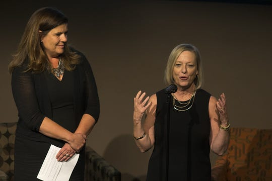 Kristin Gilger (right, Walter Cronkite School Associate Dean) speaks during an Arizona Storytellers Project show commemorating the 40th anniversary of the assassination Arizona Republic reporter Don Bolles, June 3, 2016,at the Walter Cronkite School of Journalism and Mass Communication. Looking on is Nicole Carroll (Editor in chief of USA TODAY).