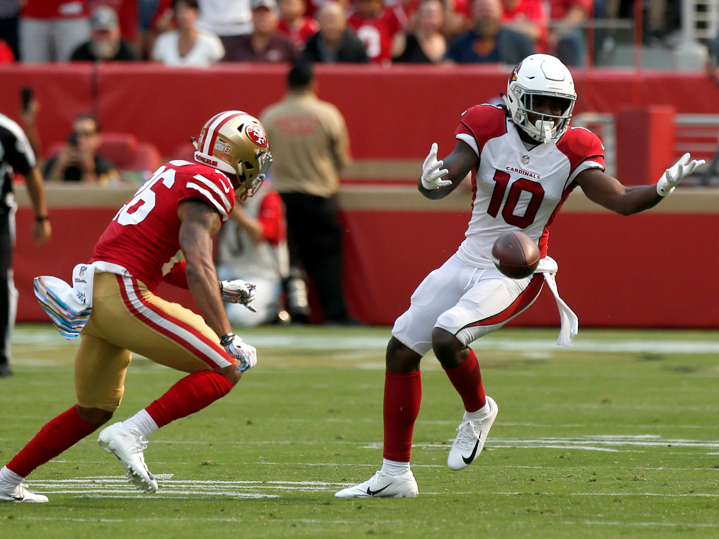 Oct 7, 2018; Santa Clara, CA, USA; Arizona Cardinals wide receiver Chad Williams (10) is unable to make a catch against the San Francisco 49ers in the second quarter at Levi's Stadium.