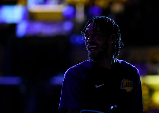 Los Angeles Lakers forward Brandon Ingram warms up prior to an NBA preseason basketball game against the Sacramento Kings in Los Angeles, Thursday, Oct. 4, 2018. (AP Photo/Kelvin Kuo)