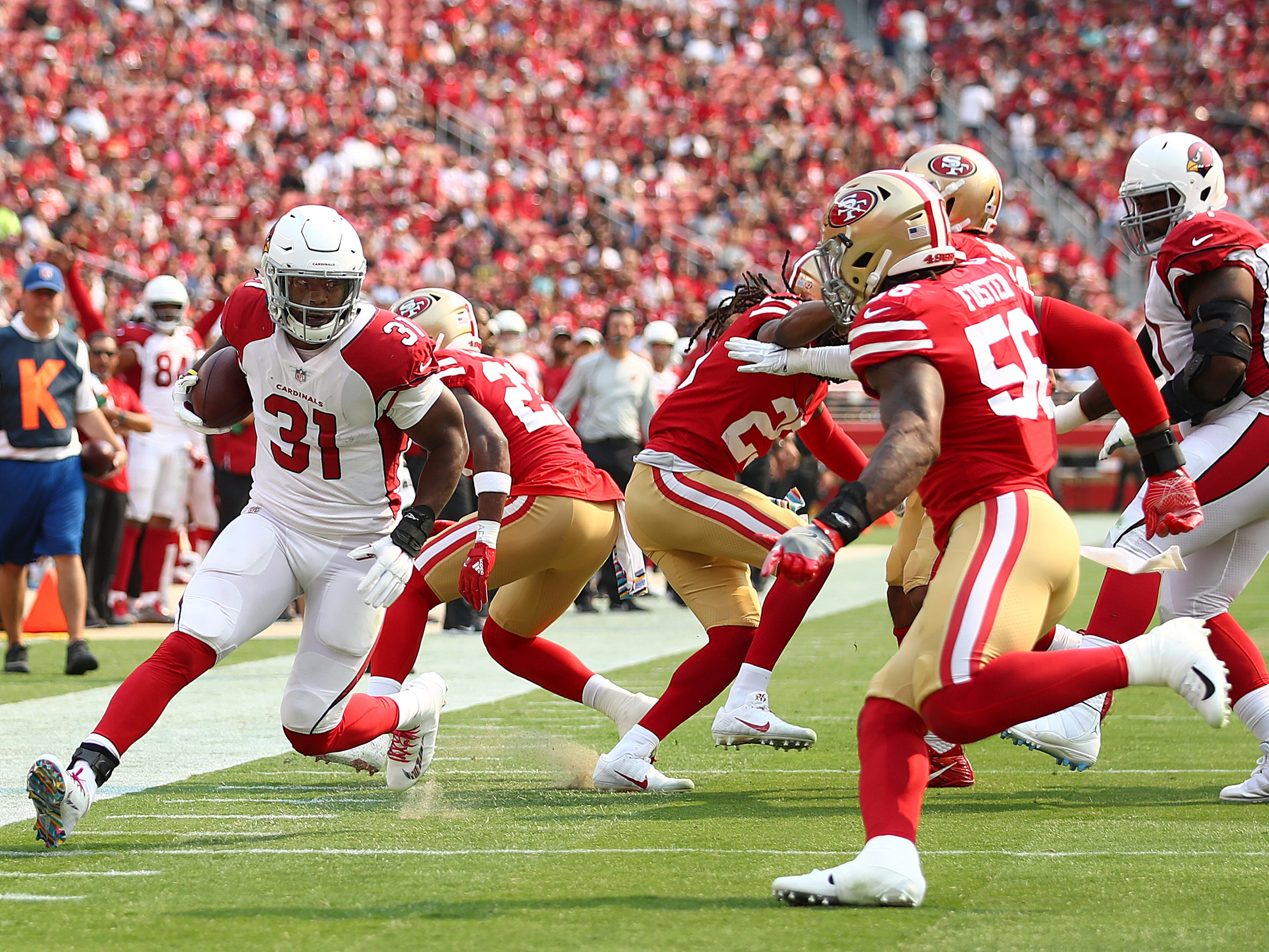 Arizona Cardinals running back David Johnson (31) runs against the San Francisco 49ers during the first half of an NFL football game in Santa Clara, Calif., Sunday, Oct. 7, 2018.