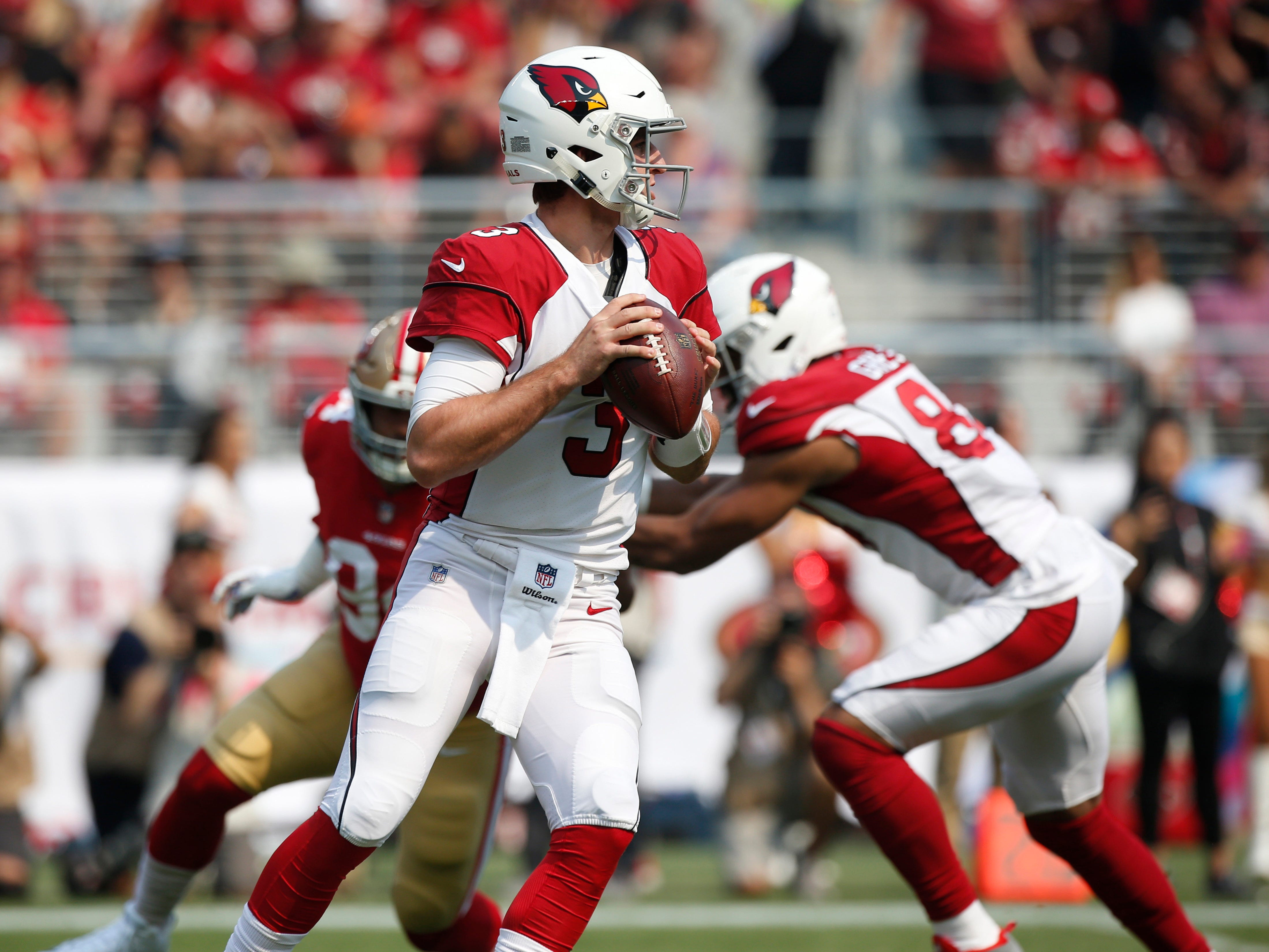 Oct 7, 2018; Santa Clara, CA, USA; Arizona Cardinals quarterback Josh Rosen (3) prepares to throw a pass against the San Francisco 49ers in the first quarter at Levi's Stadium.