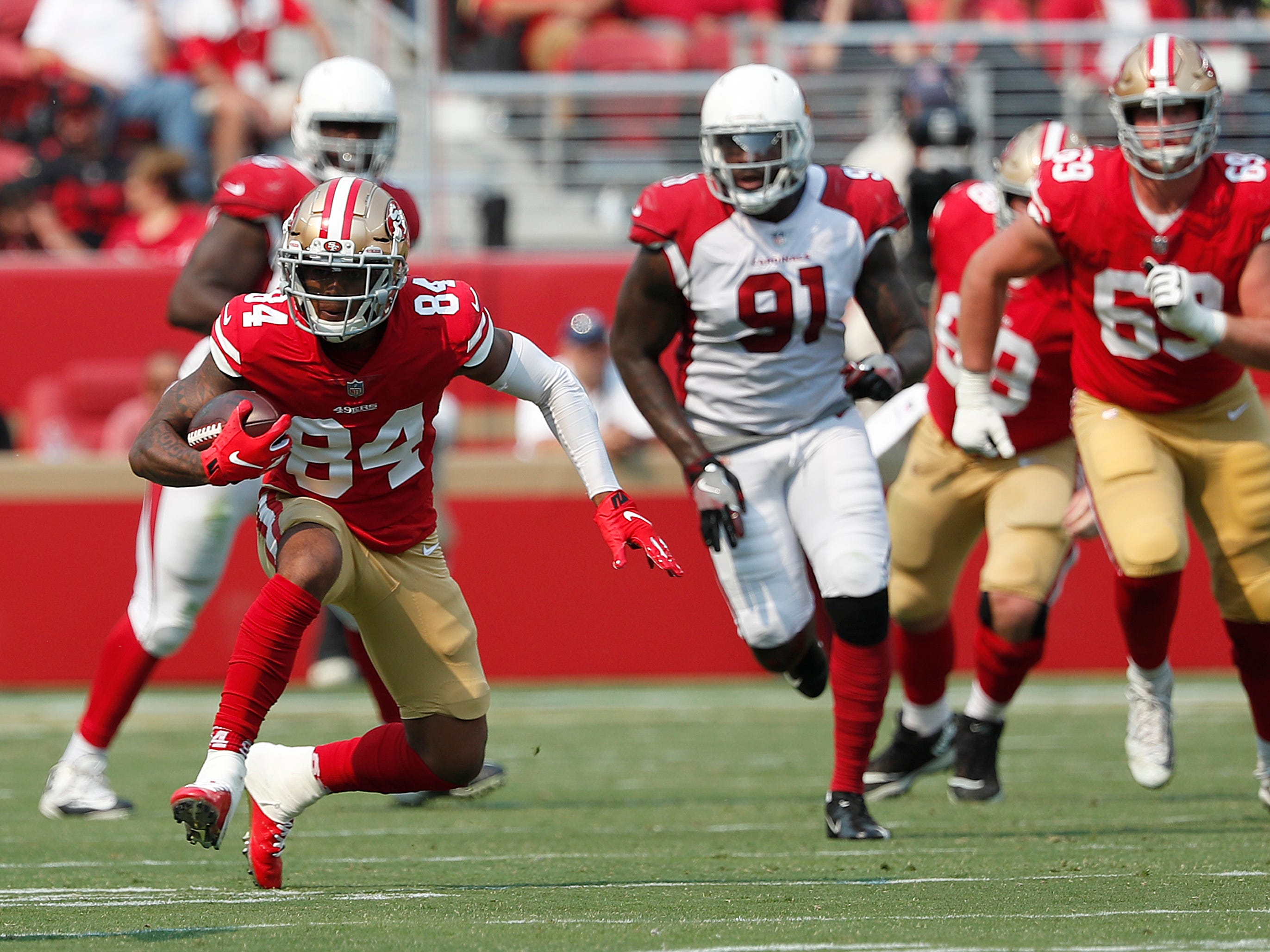 San Francisco 49ers wide receiver Kendrick Bourne (84) runs against the Arizona Cardinals during the first half of an NFL football game in Santa Clara, Calif., Sunday, Oct. 7, 2018.