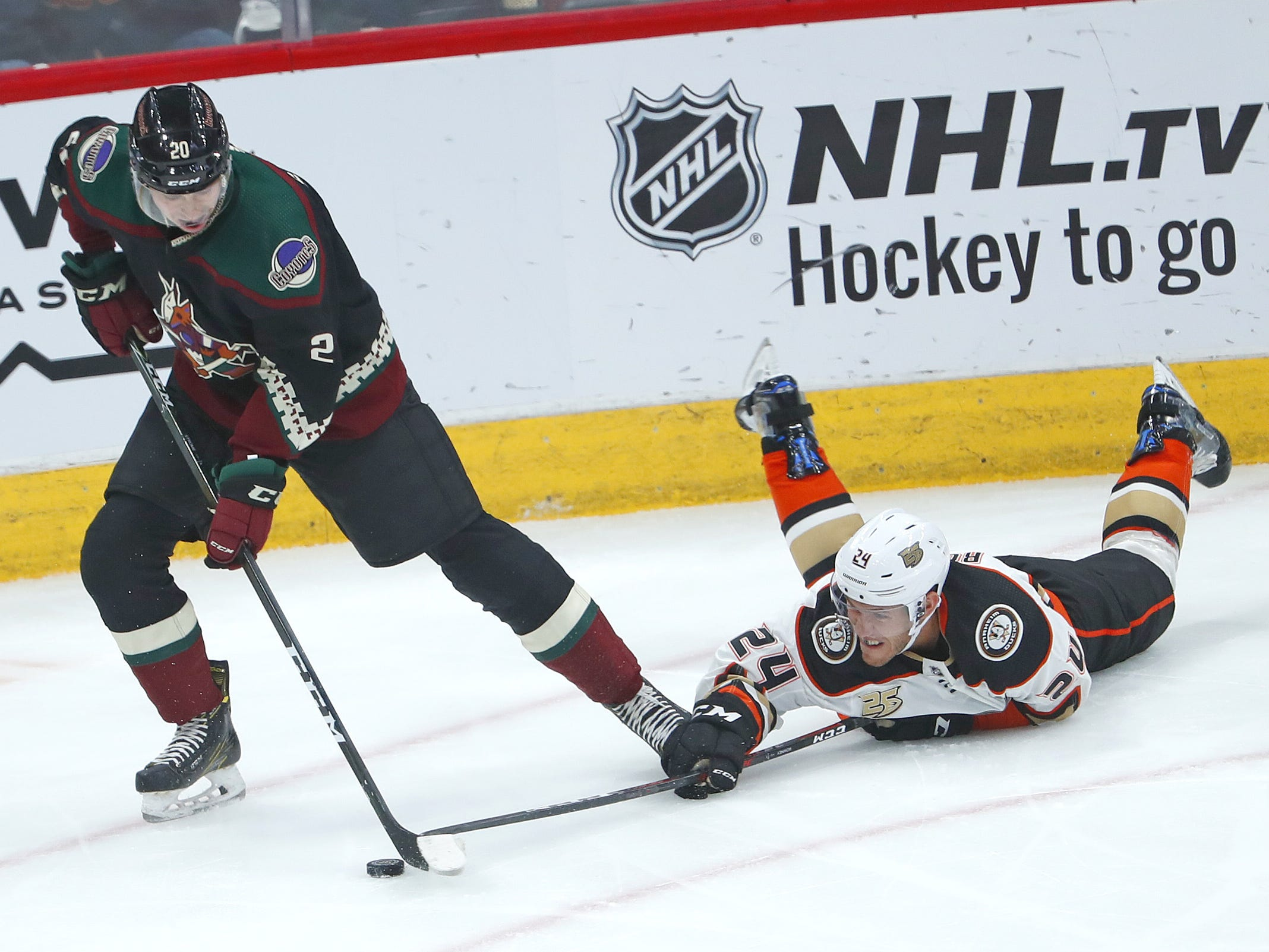 Ducks Carter Rowney (24) tries to steal a puck while laying on the ice against Coyotes Dylan Strome (20) during the first period at Gila River Arena in Glendale, Ariz. on October 6, 2018.