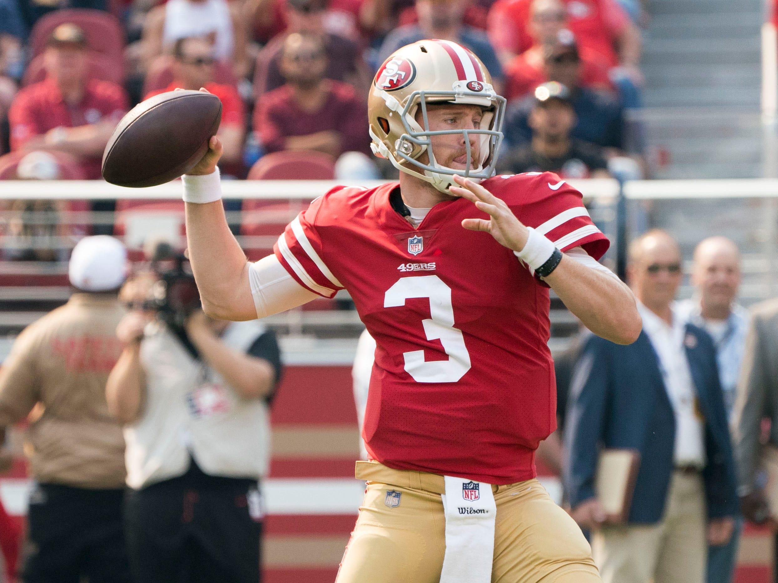 October 7, 2018; Santa Clara, CA, USA; San Francisco 49ers quarterback C.J. Beathard (3) throws the football against the Arizona Cardinals during the first quarter at Levi's Stadium.