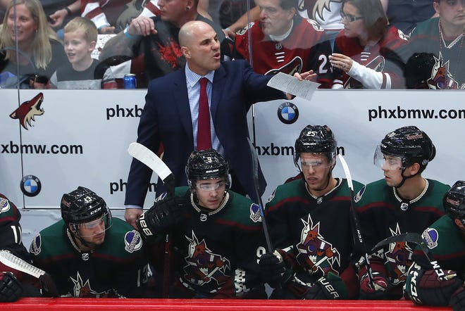 Coyotes head coach Rick Tocchet yells to his team during the first period against the Ducks at Gila River Arena in Glendale, Ariz. on October 6, 2018.