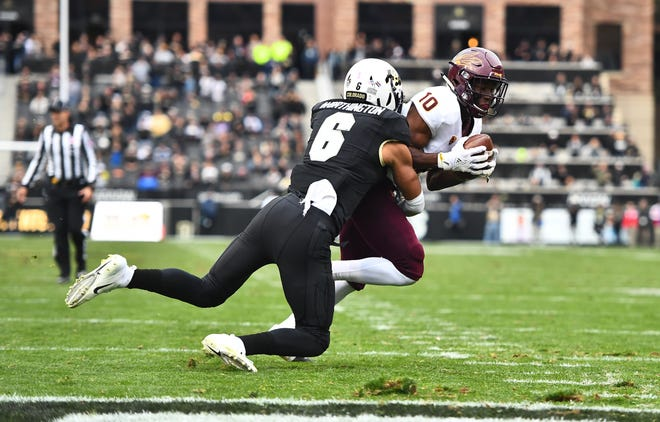 Oct 6, 2018; Boulder, CO, USA; Colorado Buffaloes defensive back Evan Worthington (6) tackles Arizona State Sun Devils wide receiver Kyle Williams (10) quarter at Folsom Field. Mandatory Credit: Ron Chenoy-USA TODAY Sports