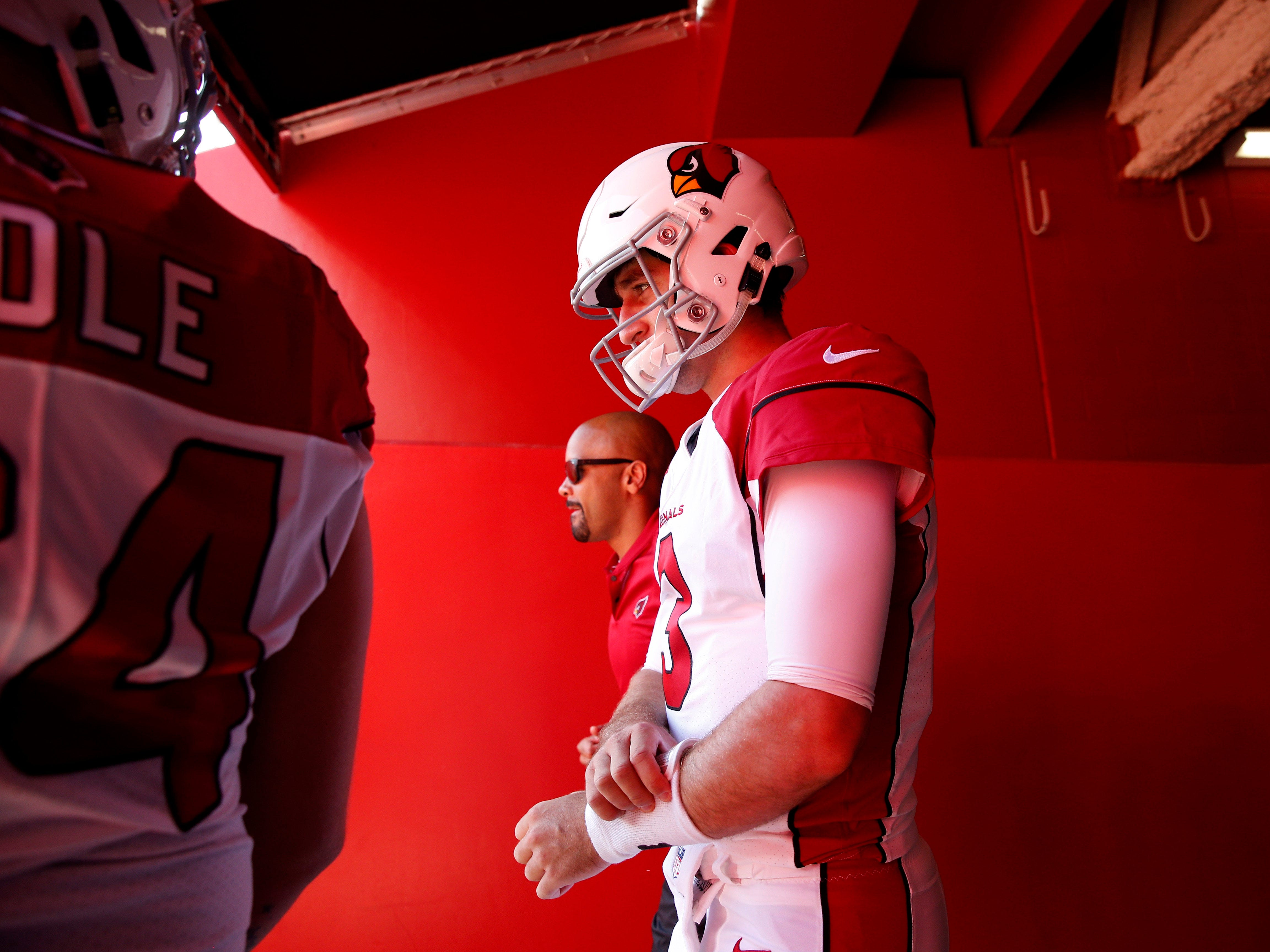 Oct 7, 2018; Santa Clara, CA, USA; Arizona Cardinals quarterback Josh Rosen (3) prepares to take the field before the start of the game against the San Francisco 49ers at Levi's Stadium.
