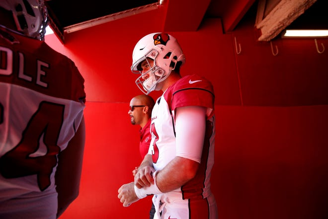 Oct 7, 2018; Santa Clara, CA, USA; Arizona Cardinals quarterback Josh Rosen (3) prepares to take the field before the start of the game against the San Francisco 49ers at Levi's Stadium.