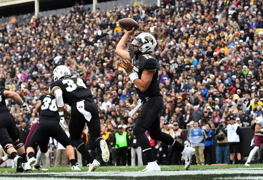 Oct 6, 2018; Boulder, CO, USA; Colorado Buffaloes quarterback Steven Montez (12) attempts a pass from the end zone in the fourth quarter against the Arizona State Sun Devils at Folsom Field. Mandatory Credit: Ron Chenoy-USA TODAY Sports