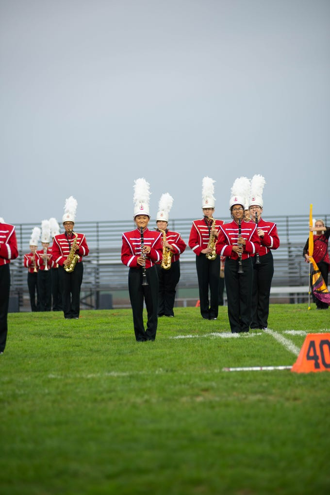 Members of the Annville-Cleona Marching Band perform at the county marching band exhibition on Saturday, Oct. 6 at Elco High School.