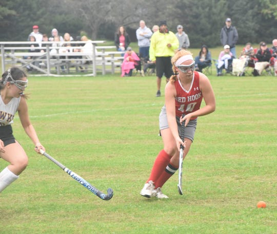 Red Hook center back Sydney Ottman moves the ball up field against Rhinebeck during an Oct. 6 game.