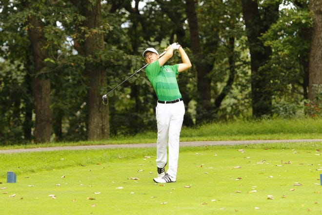 York College freshman Casey Leebrick hits a drive in a tournament earlier this season.