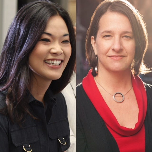 Republican Pearl Kim, left, and Democrat Jess King, right, are running for Congress among a record number of women seeking office this year.