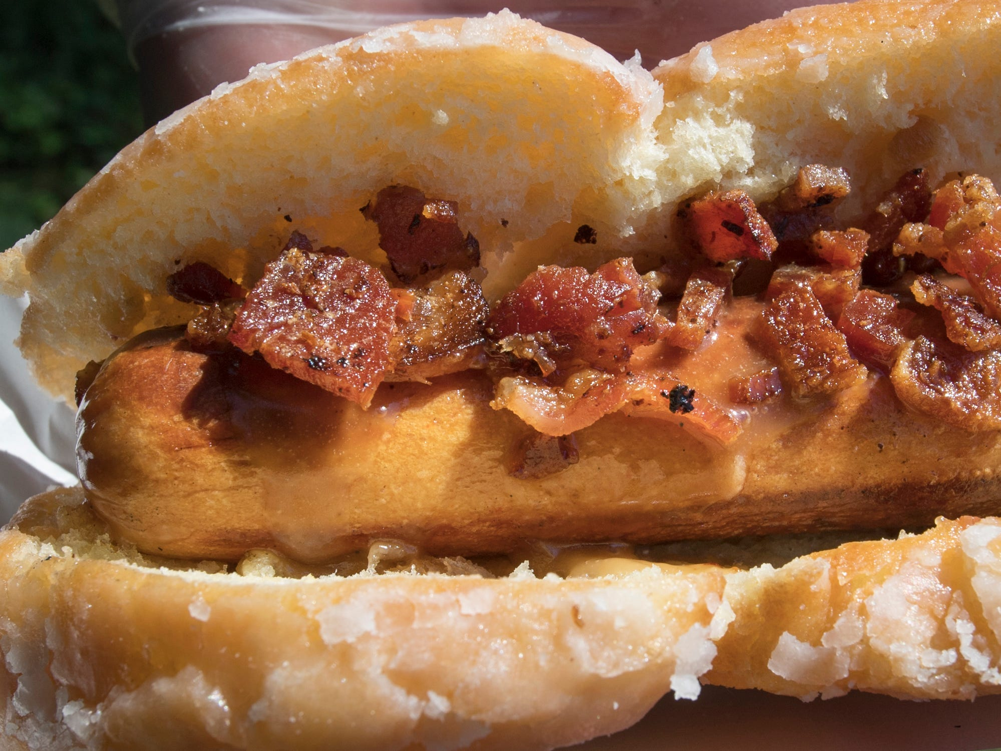 A 'Glazed and Confused' gourmet hot dog created by York Area Regional Police Department during the York County Crime Stoppers Top Dog Contest  featured a cayenne sprinkled hot dog dipped in molten maple icing inside a glazed doughnut bun, topped with crumbled applewood smoke bacon.