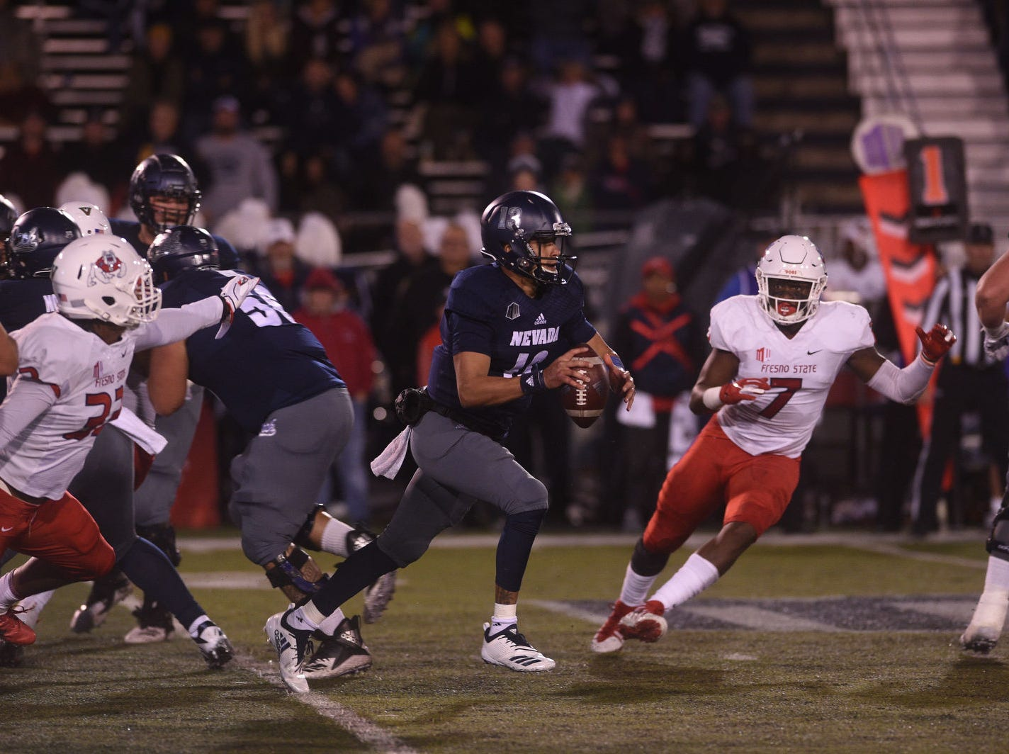 Nevada takes on Fresno St. during their football game at Mackay Stadium in Reno on Oct. 6, 2018.