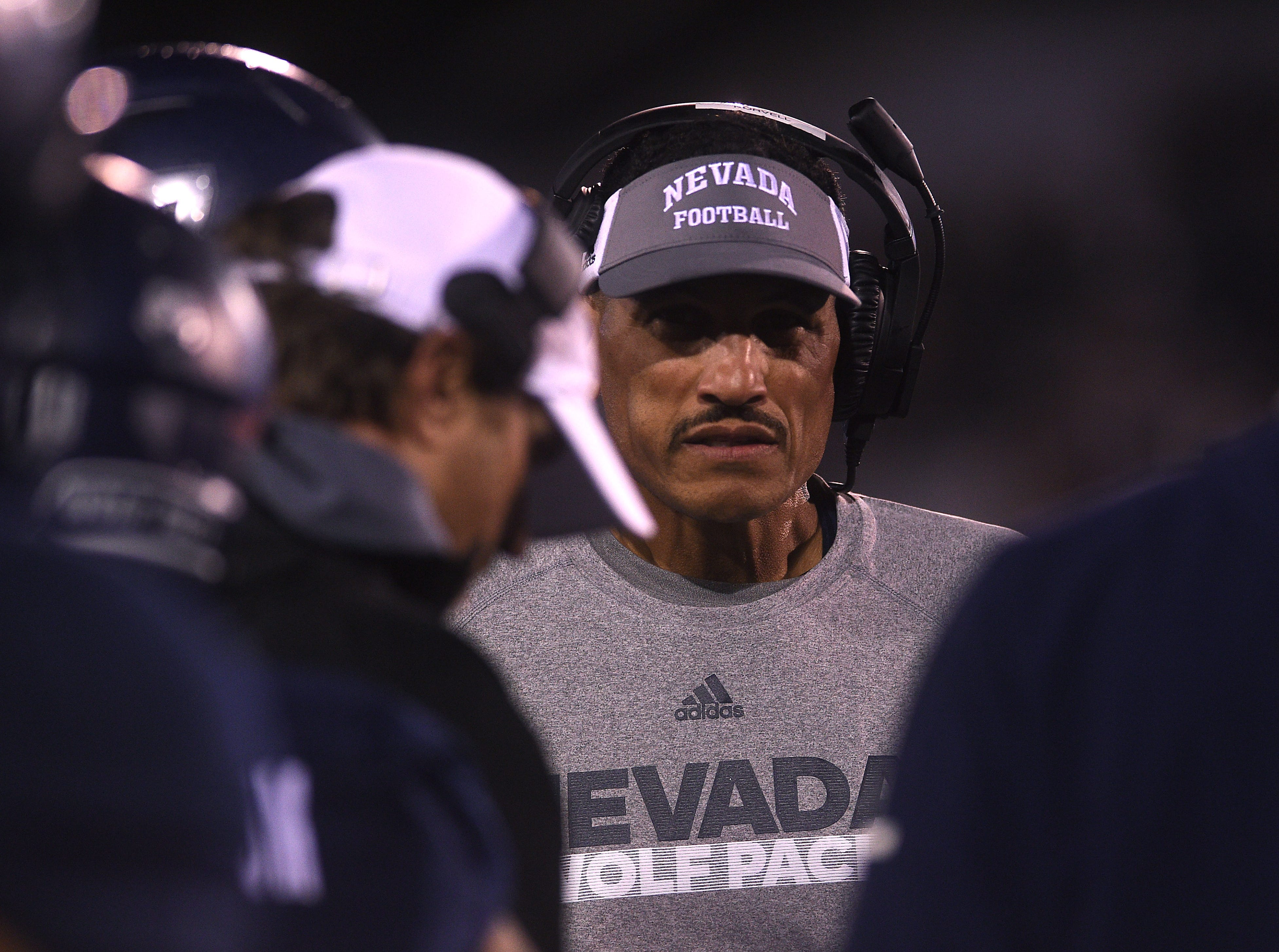 Nevada head coach Jay Norvell takes on Fresno St. during their football game at Mackay Stadium in Reno on Oct. 6, 2018.