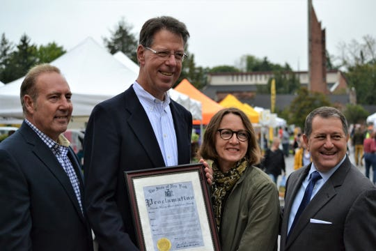 From left: State Sen. Joseph Robach, Brighton Town Supervisor Bill Moehle, Brighton Farmers' Market Manager Sue Gardner Smith, Assembly Majority Leader Joseph Morelle. All four have worked to secure $1 million in state aid for a new, permanent location for the Brighton Farmers' Market.