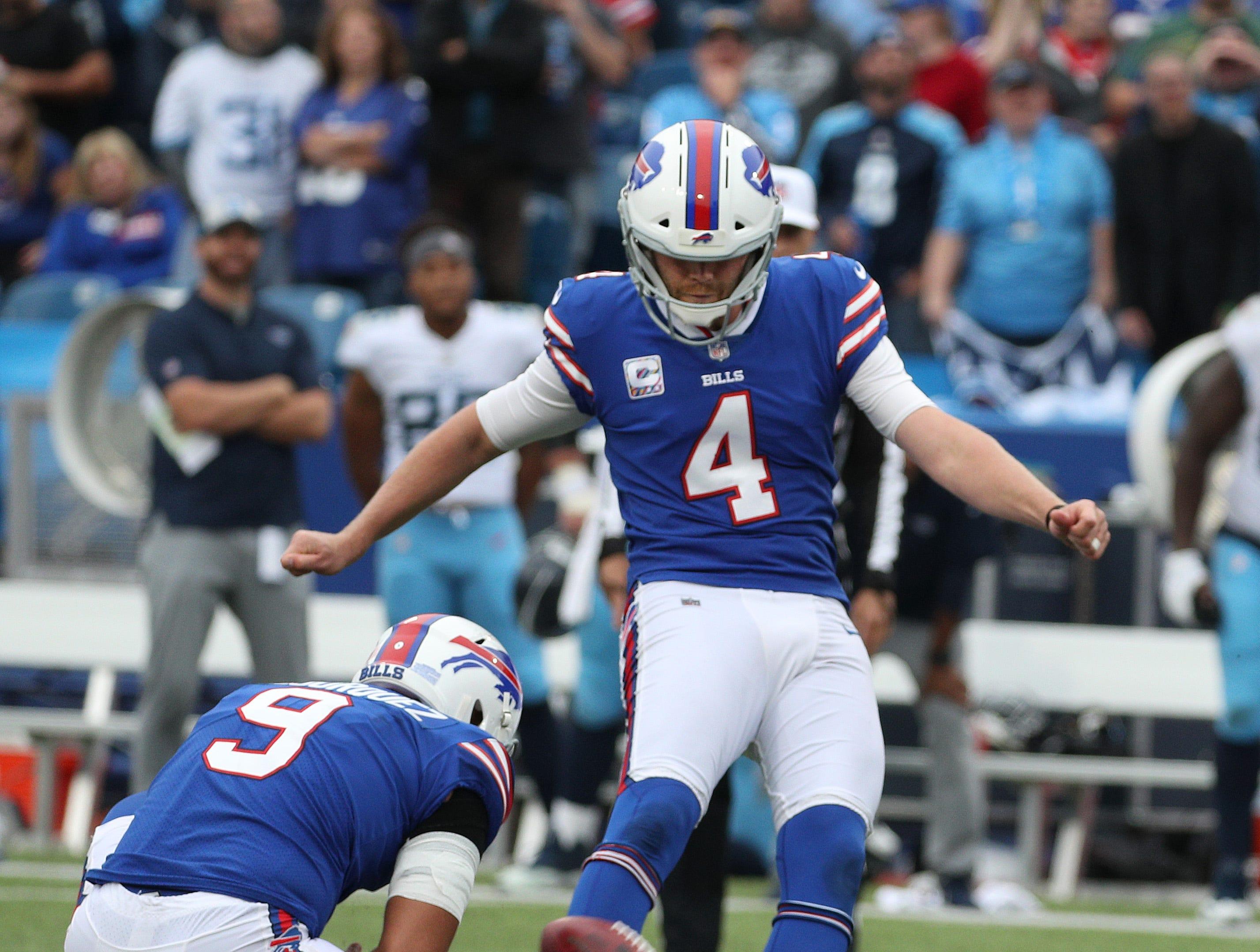 Bills kicker Stephen Hauschka kicks a 46-yard field goal to beat the Titan 13-12 on the last play of the game.