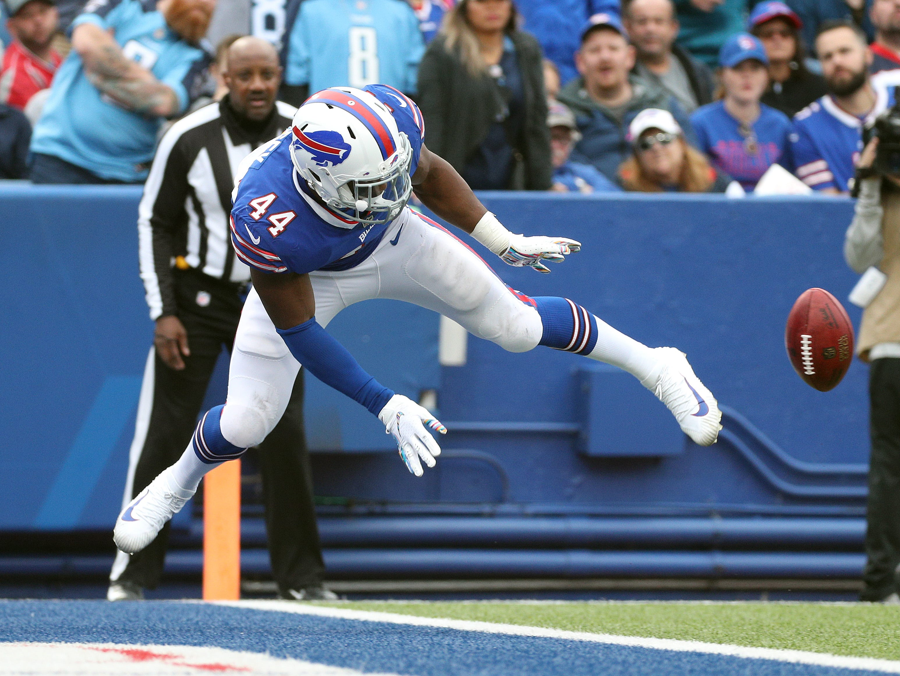 Bills Dean Lacy  leaps into the end zone to down the punt at the 5-yard-line.