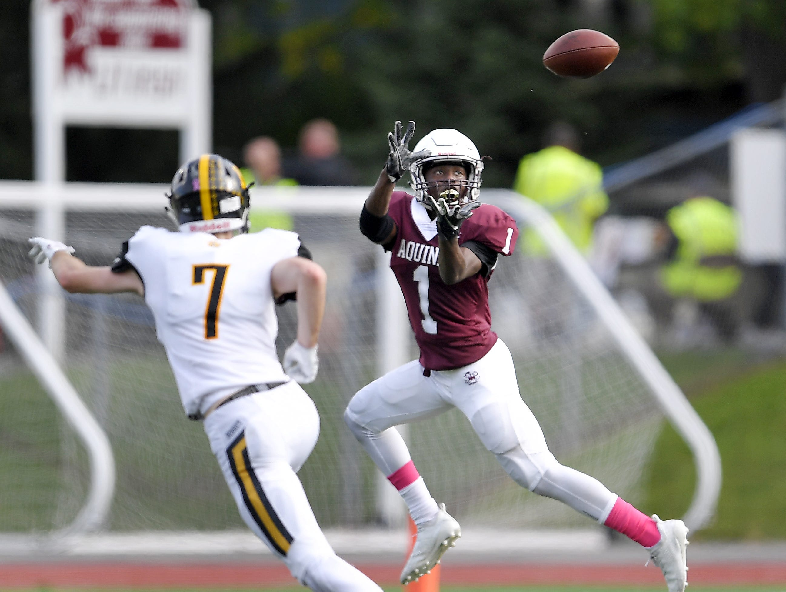 Aquinas' Ulysees Russell, right, makes a catch in front of McQuaid's Mike Maloney during a regular season game played at Aquinas Institute, Saturday, Oct. 6, 2018. Aquinas beat McQuaid 22-19.