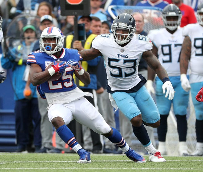 Bills running back LeSean McCoy tries to avoid Titans defender Daren Bates. Dealing McCoy by NFL trade deadline would bring a draft pick, possibly a lineman to Bills.