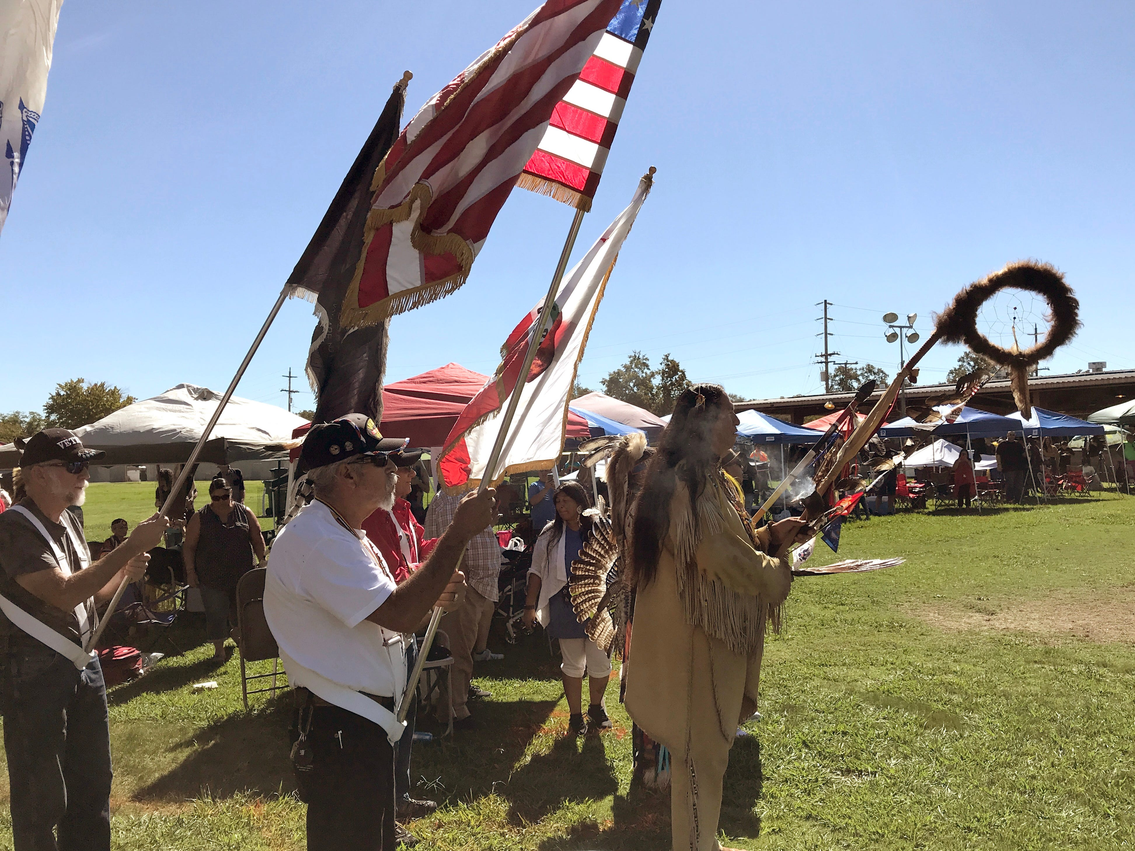 The grand entry Saturday afternoon at the Stillwater Powwow in Anderson.