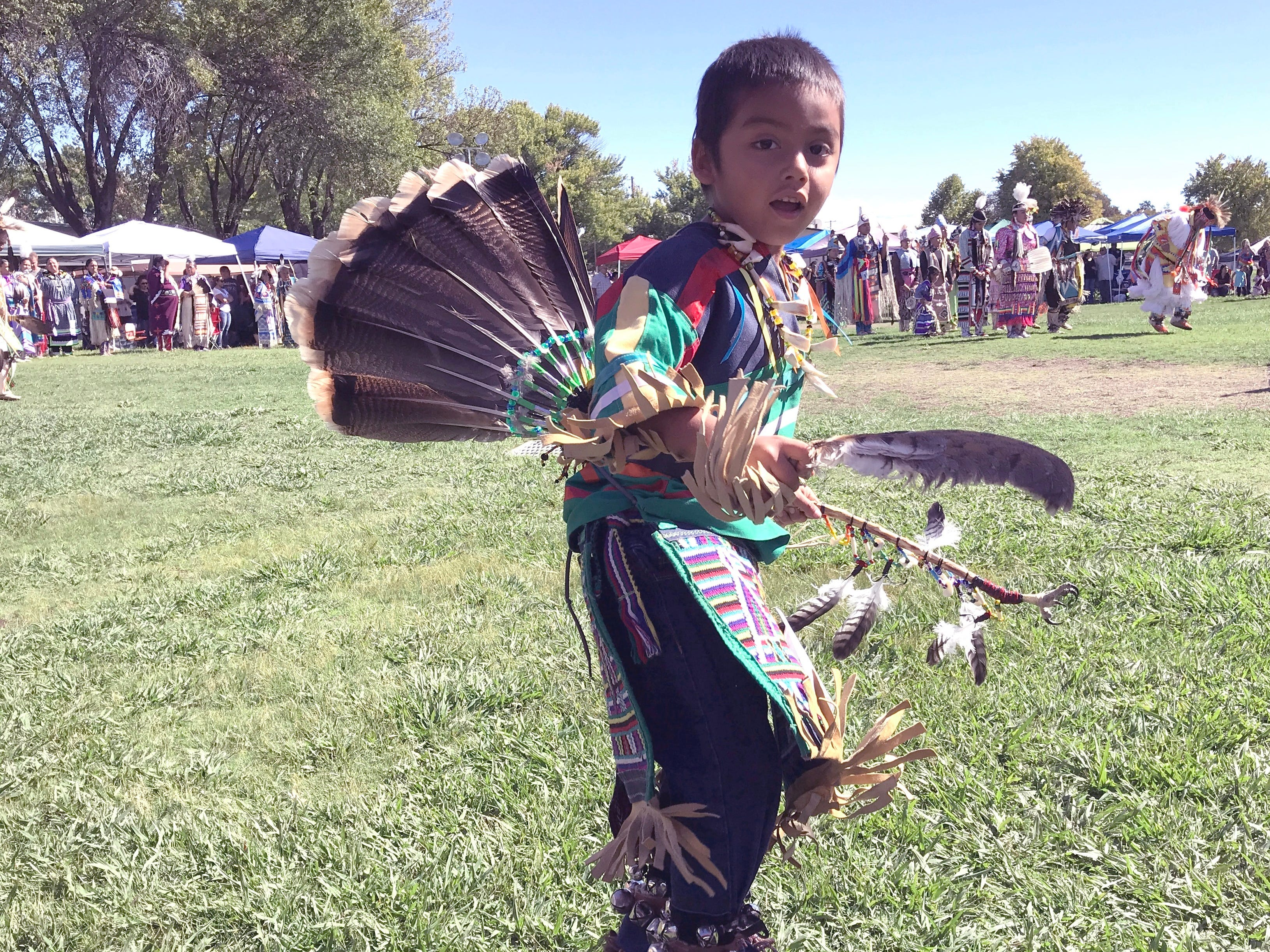 A young dancer at the 2018 Stillwater Powwow in Anderson.