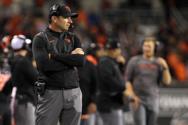 Oregon State Beavers head coach Jonathan Smith watches his team play Washington State Cougars in the second half at Reser Stadium.