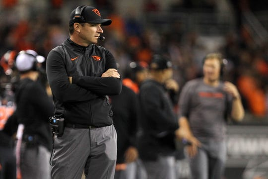 Oct 6, 2018; Corvallis, OR, USA;  Oregon State Beavers head coach Jonathan Smith watches his team play Washington State Cougars in the second half at Reser Stadium. Mandatory Credit: Jaime Valdez-USA TODAY Sports