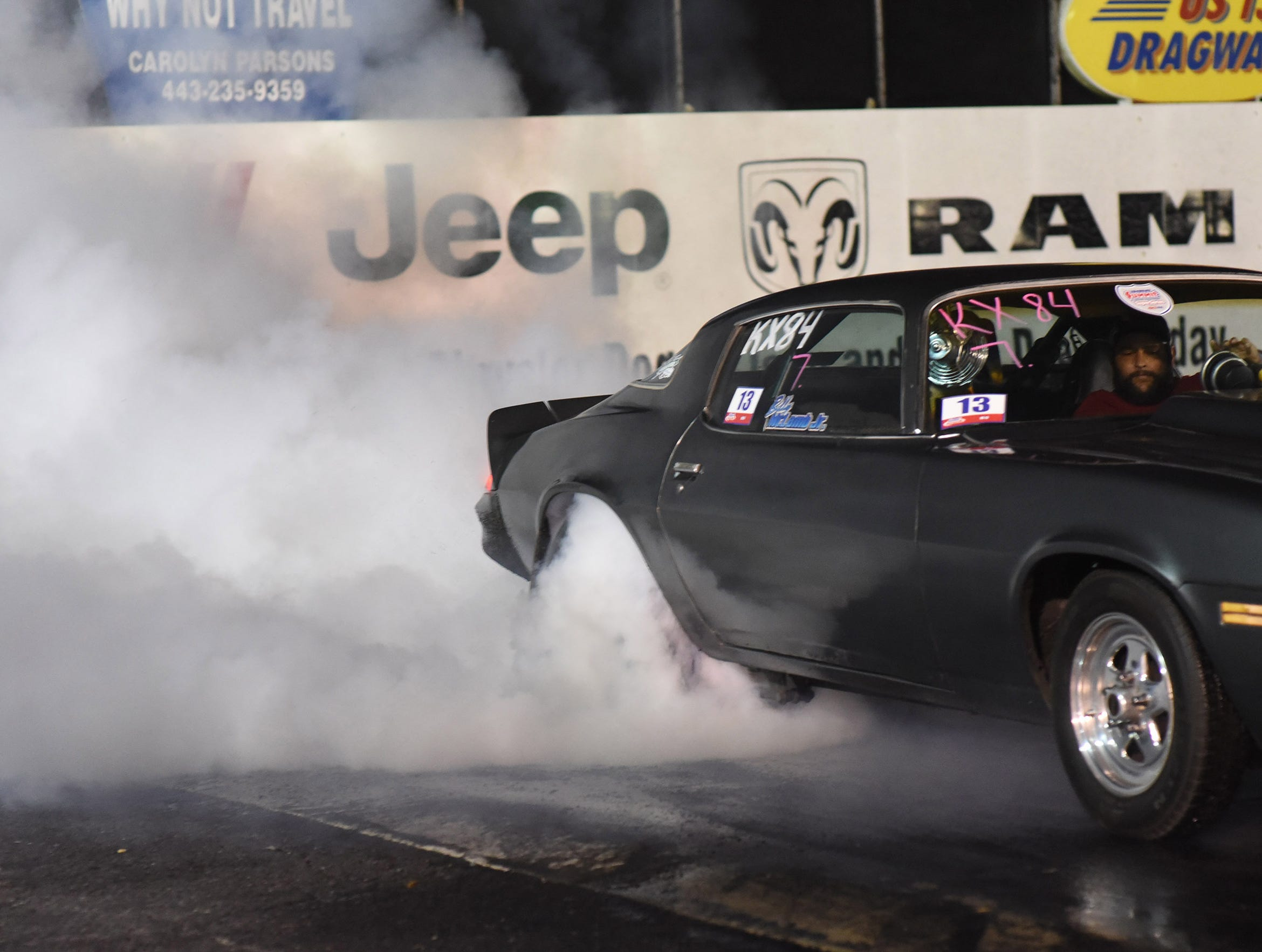 Billy McLamb competes in the first Endless Summer Cruisin' 2018 Burnout Contest at the U.S. 13 Dragway in Delmar. Billy McLamb of Mardela Springs was the winner of the contest and $500 sponsored by Special Event Productions Inc. (Photo by Todd Dudek for The Daily Times)