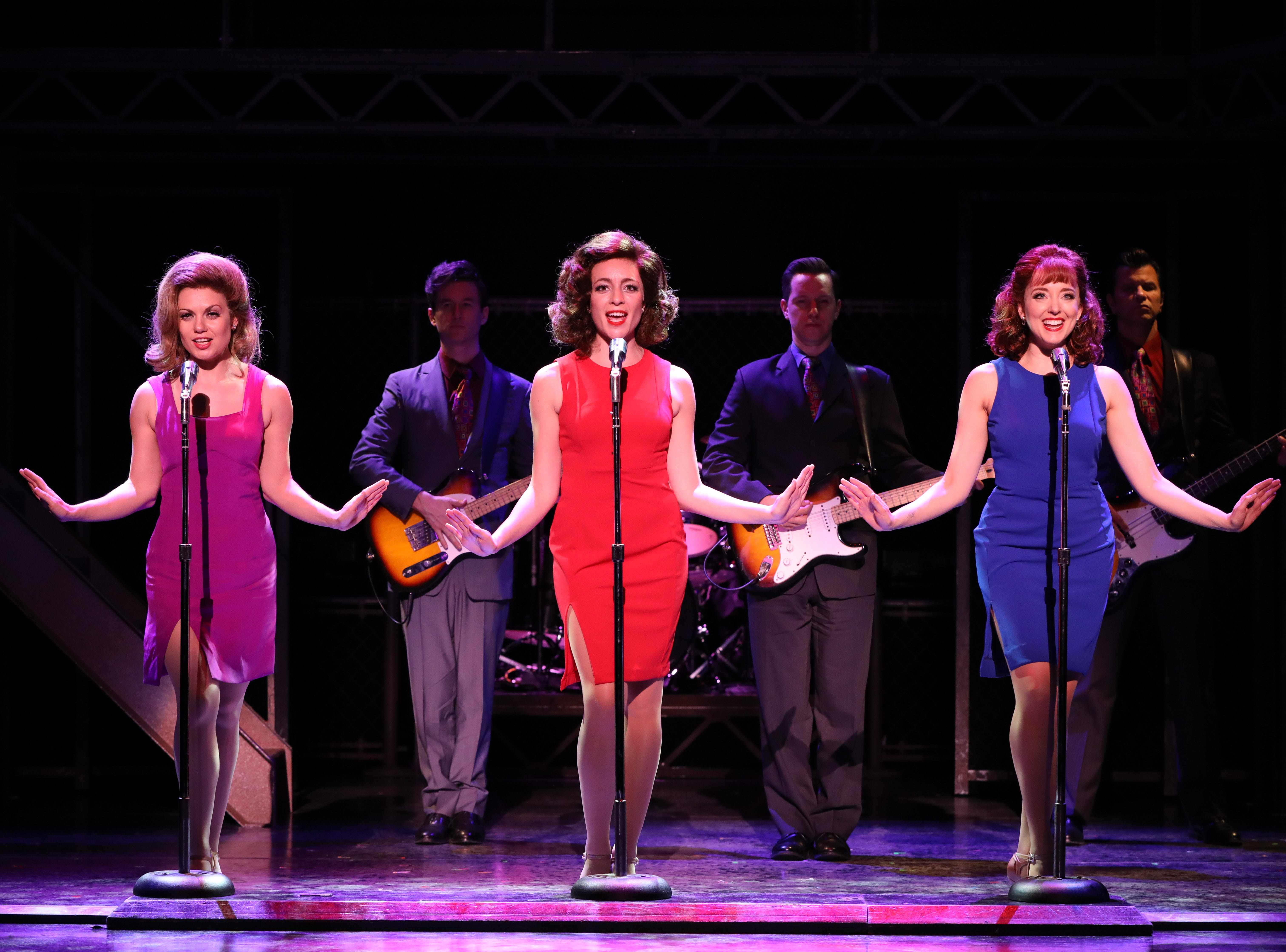 """Ashley Bruce, Chloe Tiso and Jessica Wockenfuss, from left in foreground, and : Guitars (l to r): Wade Dooley, Kevin Patrick Martin and Todd DuBail, from left in background, in """"Jersey Boys."""""""
