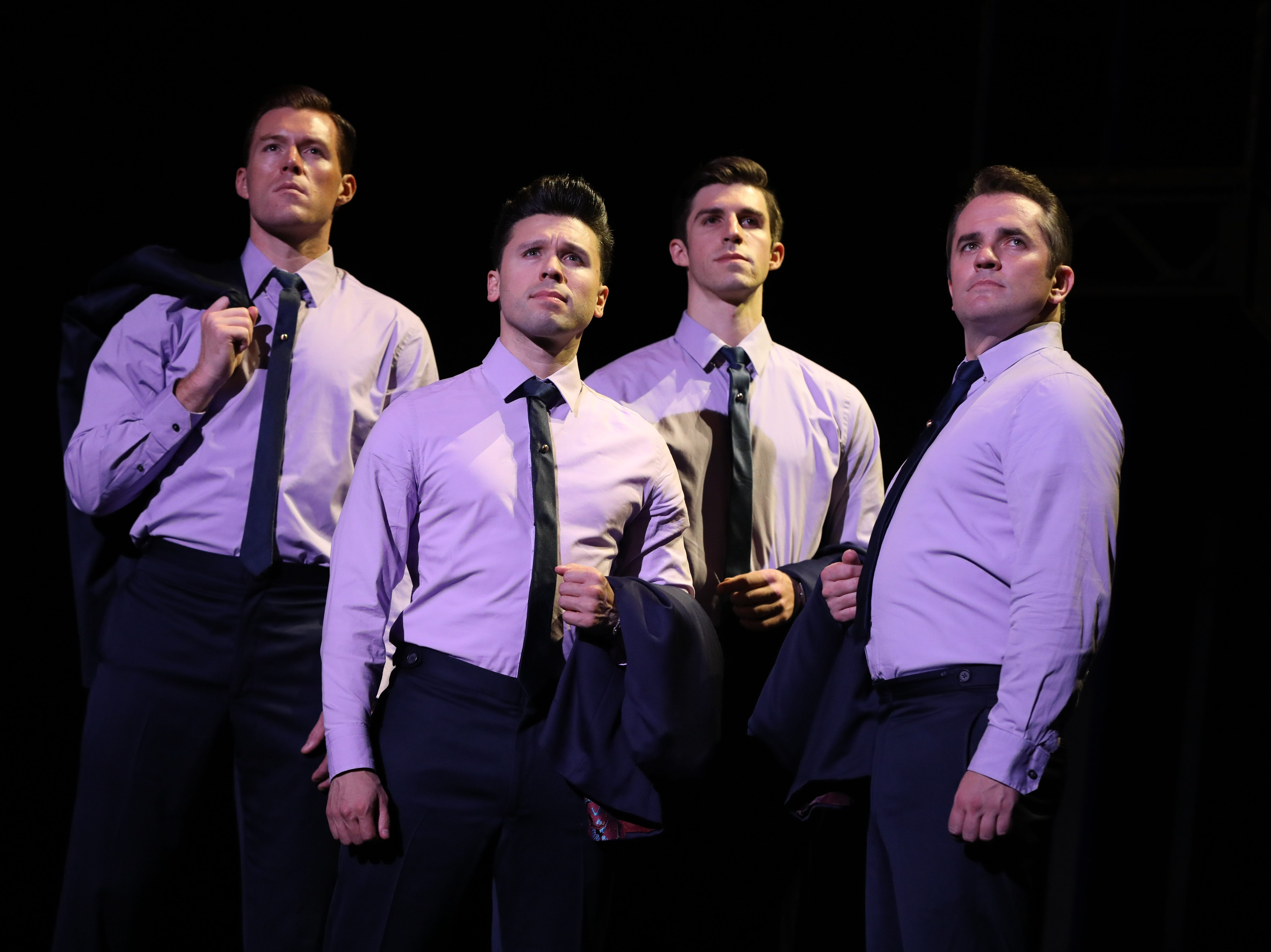 """Jonathan Cable, Jonny Wexler, Eric Chambliss and Corey Greenan, from left, in """"Jersey Boys."""""""