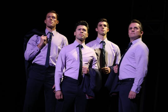 "Jonathan Cable, Jonny Wexler, Eric Chambliss and Corey Greenan, from left, in ""Jersey Boys."""