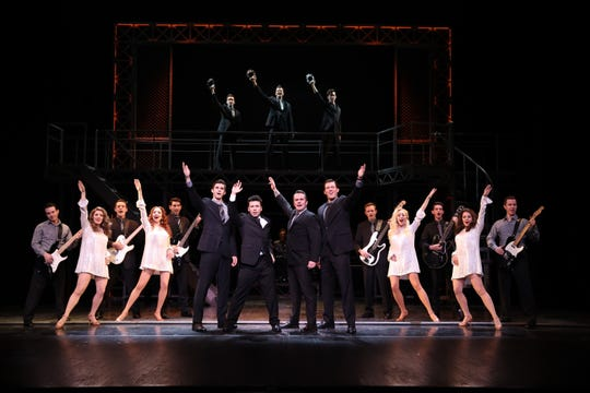 "From left: Eric Chambliss, Jonny Wexler, Corey Greenan, Jonathan Cable and the Company of ""Jersey Boys."""