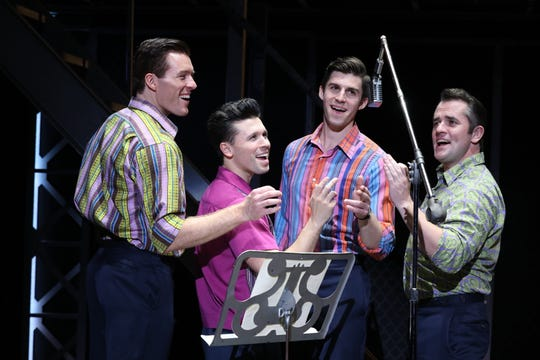 "Jonathan Cable, Corey Greenan, Jonny Wexler and Eric Chambliss, from left, in ""Jersey Boys."""