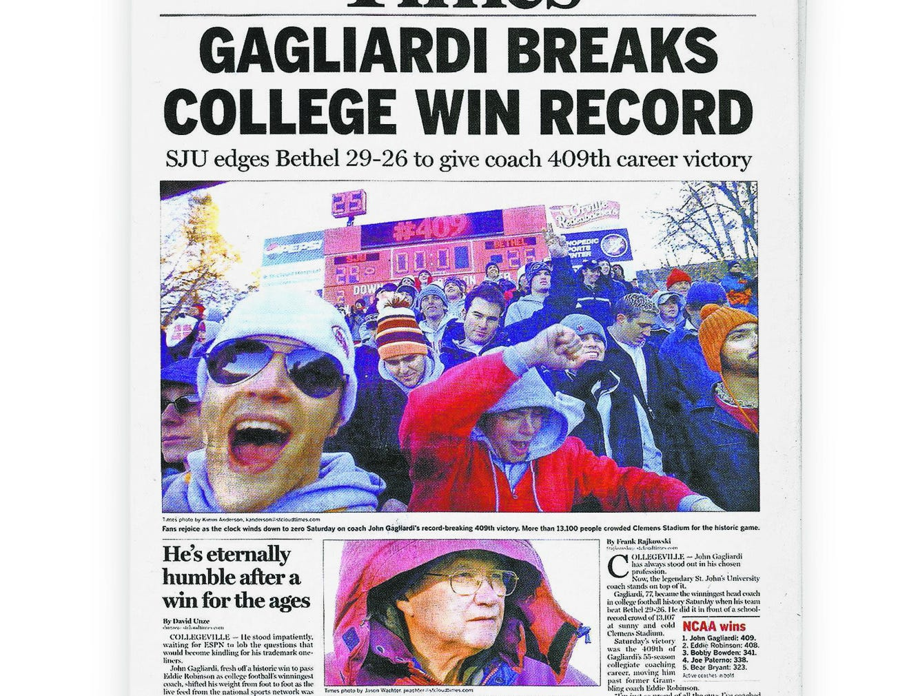 The St. Cloud Times on Nov. 9, 2003, commemorating John Gagliardi's record-setting 409th career win.