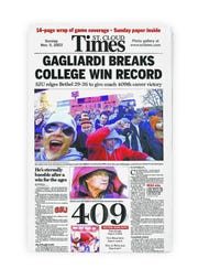The St. Cloud Times on Nov. 9, 2003, commemorating John Gagliardi's record-setting 409th career win.