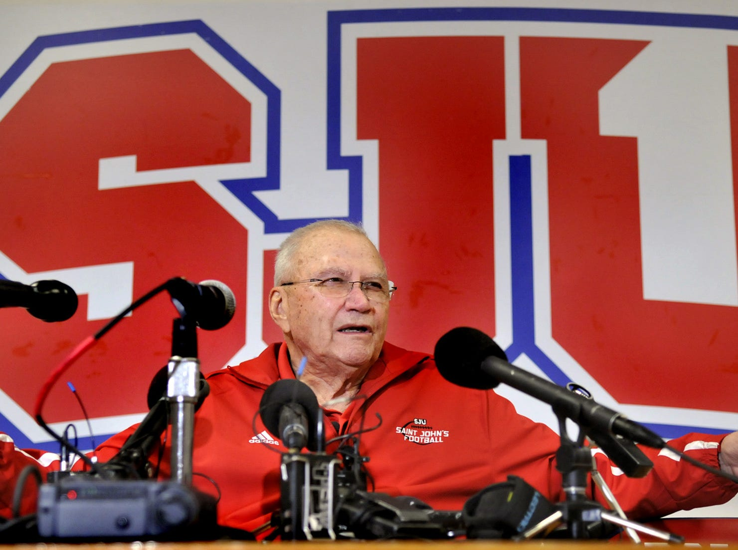 John Gagliardi, college football's winningest coach, announces his retirement from the head coaching position at St. John's University during a news conference in Collegeville. Gagliardi coached for 489 wins.