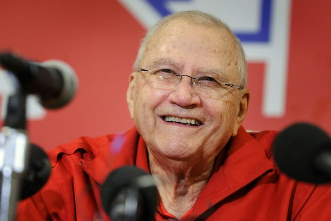 John Gagliardi, college football's winningest coach, smiles as he announces his retirement during a 2012 news conference  at Warner Palaestra on the SJU campus. Gagliardi coached for 489 wins in 60 seasons at SJU.