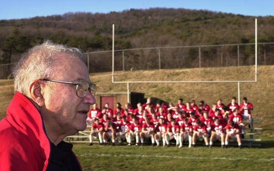 St. John's University Head Coach John Gagliardi talks about the trip to Salem, Va., shortly after the team arrived for the first practice Thursday at Salem High School for the NCAA Division III championship game in 1999.