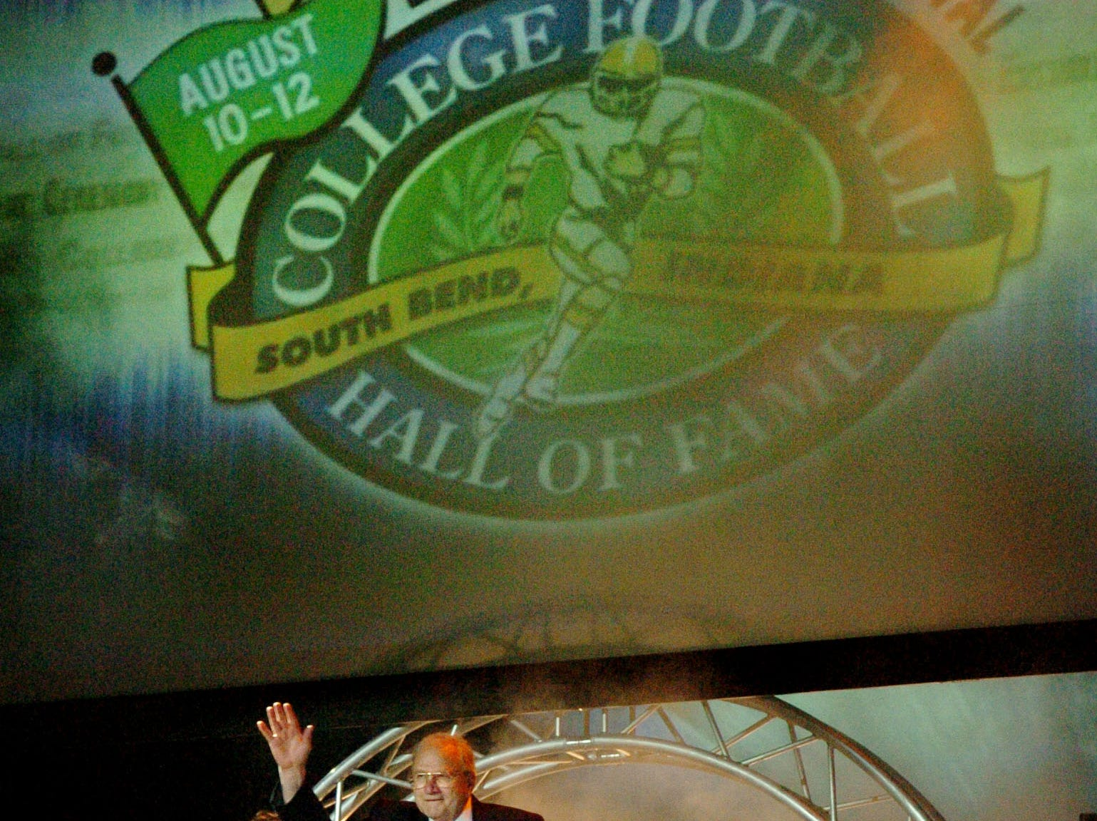 St. John?s football coach John Gagliardi is introduced as the winningest coach in college football history during the enshrinement ceremony for the College Football Hall of Fame Saturday night in South Bend, Ind.