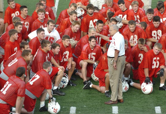 St. John's football coach John Gagliardi greets his players during the first day of practice in 2007.