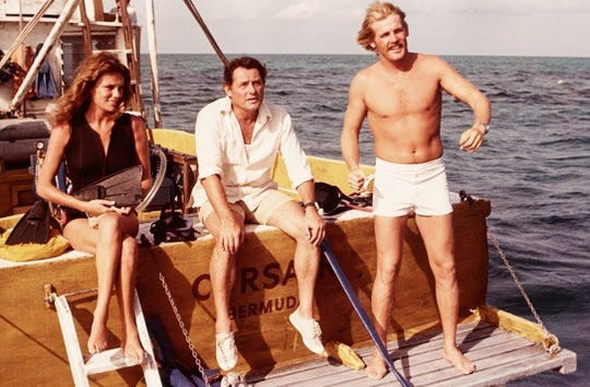 "Jacqueline Bisset, Robert Shaw (center) and Nick Nolte in ""The Deep."""