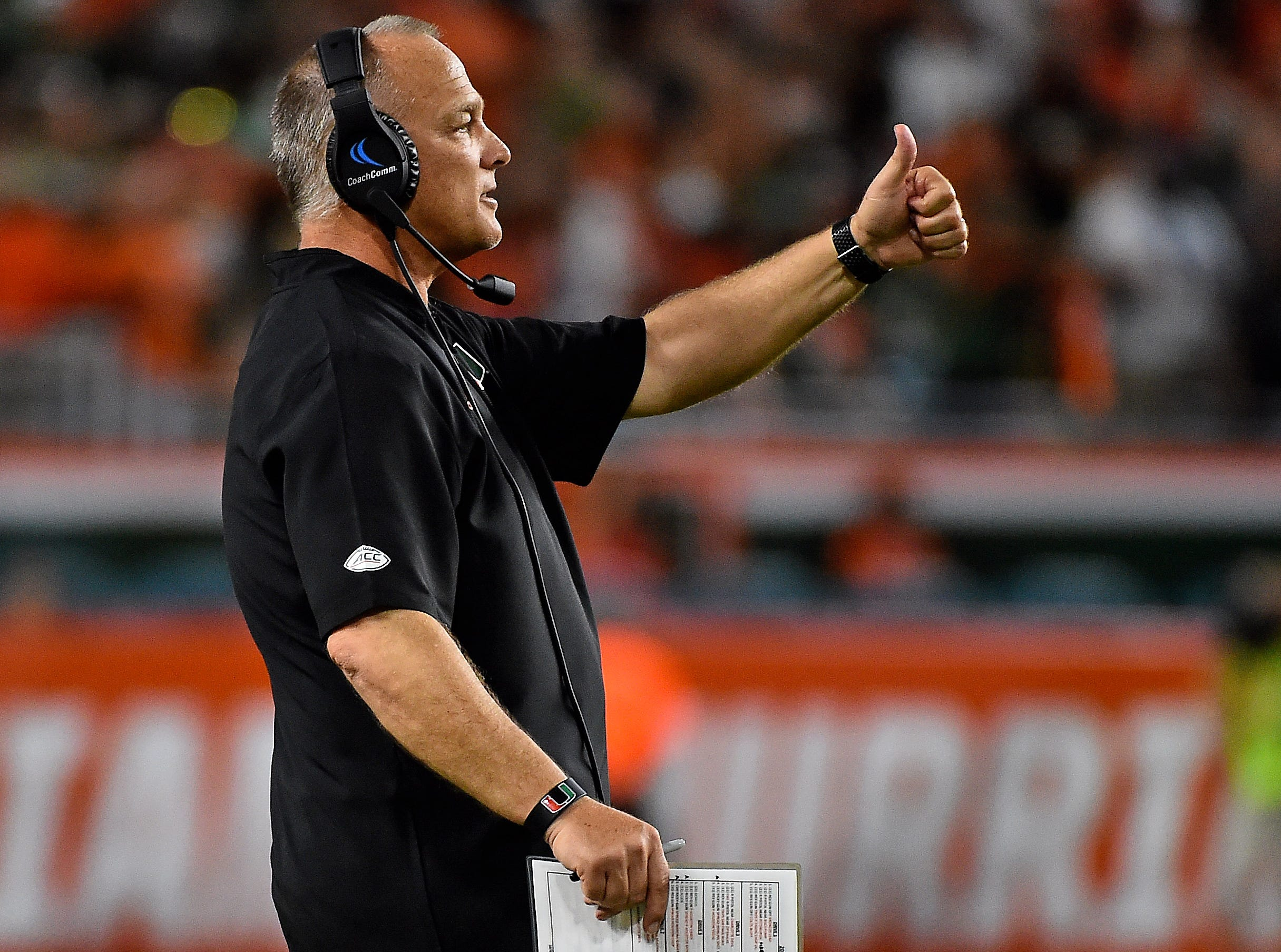 Oct 6, 2018; Miami Gardens, FL, USA; Miami Hurricanes head coach Mark Richt reacts during the second half against the Florida State Seminoles at Hard Rock Stadium. Mandatory Credit: Jasen Vinlove-USA TODAY Sports