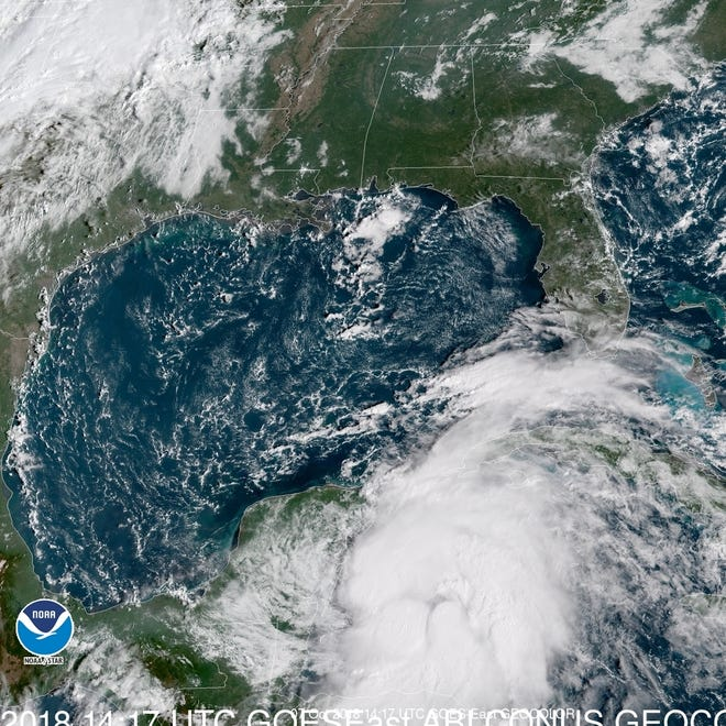 A satellite visualization of the Tropical Storm Michael.